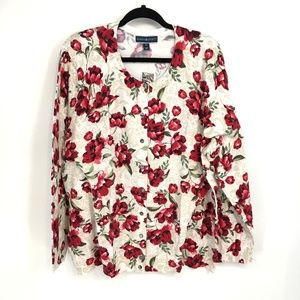 Karen Scott Floral Button Front  Cardigan